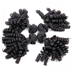 Malaysian virgin unprocessed natural color human hair wefts Spiral Curly 4 pieces a lot  95g/pc  [MVSC04]
