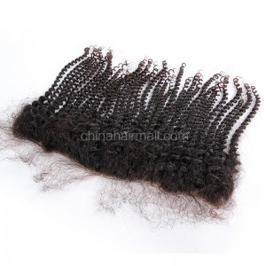 Peruvian Virgin Human Hair 13*4 Popular Lace Frontal Spiral Kinky Curly  Natural Hair Line and Baby Hair [PVSKCLF]
