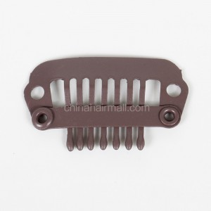 20pcs/lot 9 Teeth Dark Brown clips Snap Clips for Hair Extensions weft wig clips 32mm [CLIP05]