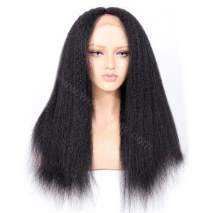 Indian Remy Hair Italian Yaki Straight Glueless Silk Part Lace Wig