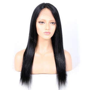 Indian Remy Hair Yaki Straight Glueless Silk Part Lace Wig