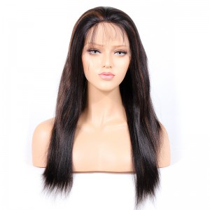 WowEbony Indian Remy Human Hair Yaki Straight Lace Front Wigs [HLLFW03]