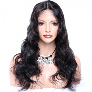 Indian Remy Hair Body Wave Glueless Silk Part Lace Wig