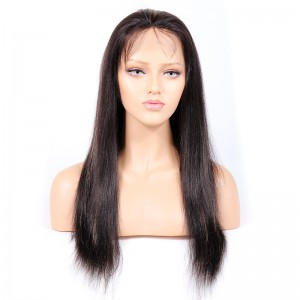WowEbony Indian Virgin Human Hair Yaki Straight Lace Front Wigs [HLLFW02]