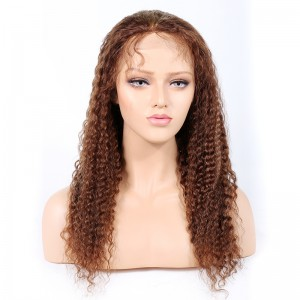 WowEbony #4/27 Highlight Color Glueless Full Lace Wigs Indian Virgin Hair Deep Wave [GHLFW06]