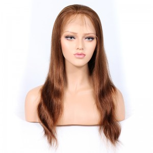 Blonde #30 Color Full Lace Wigs Peruvian Virgin Hair Natural Straight [BLFW01]
