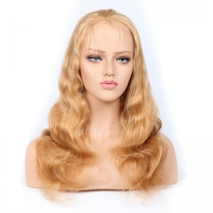 WowEbony Blonde #27 Color Glueless Full Lace Wigs Peruvian Virgin Hair Body Wave [GBLFW04]