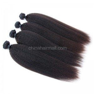 Malaysian virgin unprocessed natural color human hair wefts Kinky Straight 4 pieces a lot  95g/pc  [MVKS04]
