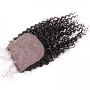 Brazilian Virgin Human Hair 4*4 Popular Silk Base Lace Closure Kinky Curly Natural Hair Line and Baby Hair [BVKCSTC]