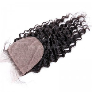 Peruvian Virgin Human Hair Popular 4*4 Silk Base Lace Closure Deep Wave Natural Hair Line and Baby Hair [PVDWSTC]