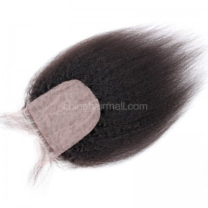 Peruvian Virgin Human Hair Popular 4*4 Silk Base Lace Closure Kinky Straight Natural Hair Line and Baby Hair [PVKSSTC]