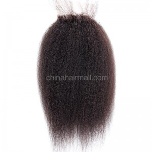 Malaysian Virgin Human Hair 4*4 Popular Lace Closure Kinky Straight Natural Hair Line and Baby Hair [MVKSTC]