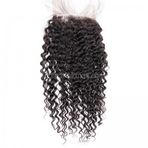 Brazilian Virgin Human Hair 4*4 Popular Lace Closure Kinky Curl Natural Hair Line and Baby Hair [BVKCTC]