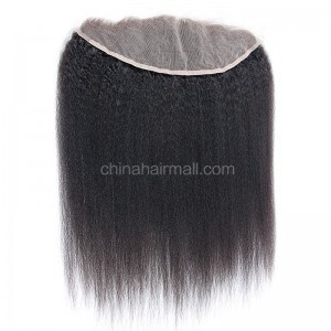 Malaysian Virgin Human Hair 13*4 Popular Lace Frontal Kinky Straight Natural Hair Line and Baby Hair [MVKSLF]
