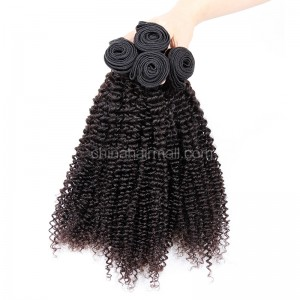 Malaysian virgin unprocessed natural color human hair wefts Kinky Curly 4 pieces a lot  95g/pc  [MVKC04]