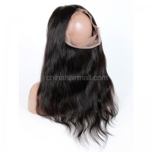 "Indian Remy Hair 360 Lace Frontal Closure 22.5""*4"" Elastic Band Natural Color Wave"