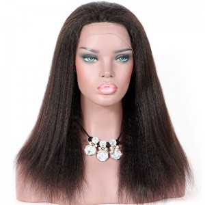 Clearance Lace Front Wig,Natural Color, Brazilian Virgin Human Hair, 14 inches,180% Density ,Medium Size Kinky Straight