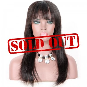 Clearance Lace Front Wig, Natural Color, Indian Remy Human Hair, 14 inches,130% Density, Medium Size, Yaki Straight With Bang