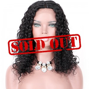 Clearance Sale 14 Inches Silk Top Lace Part Lace Front Wig Indian Remy Hair #1 Jet Black Color 130% density Curly Style