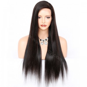 Glueless Full Lace Wigs Malaysian Virgin Hair Yaki Straight