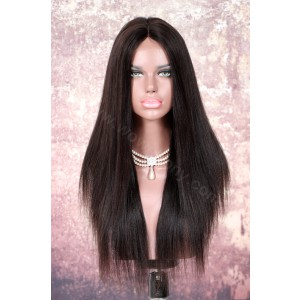 Indian Remy Hair Yaki Straight Glueless Lace Part Lace Wig [LPLW02]