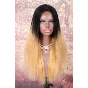 Brazilian Virgin Human Hair Ombre Brown Glueless Lace Part Lace Wig