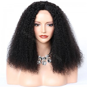 Indian Remy Hair Afro Curl Glueless Silk Part Lace Wig 18inch 150% Density #1B Color