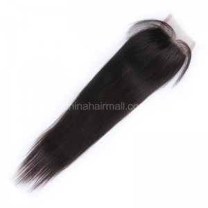Peruvian Virgin Human Hair 4*4 Popular Lace Closure Silk Straight Natural Hair Line and Baby Hair [PVSSTC]