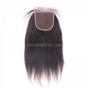 Peruvian Virgin Human Hair 4*4 Popular Lace Closure Kinky Straight Natural Hair Line and Baby Hair [PVKSTC]
