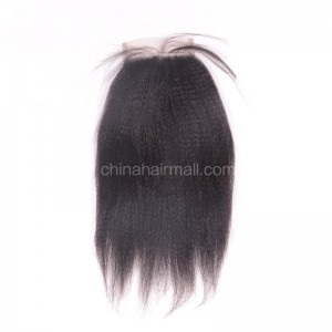 Brazilian Virgin Human Hair 4*4 Popular Lace Closure Kinky Straight Natural Hair Line and Baby Hair [BVKSTC]