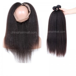 Peruvian Virgin Human Hair 360 Band Lace Frontal 22.5*4*2 Inch + 2 Bundles Kinky Straight