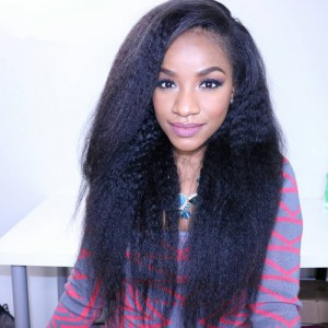 Lace Front Wigs Peruvian Virgin Human Hair Kinky Straight