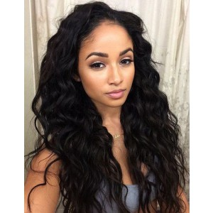 WowEbony 6 inches Deep Part Loose  Long Curls Lace Front Wigs Indian Remy Hair, 150% Density, Natural Color [DLFW05]