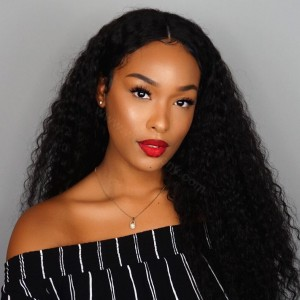 WowEbony Invisible HD Transparent Lace Front Wigs Single Knots, Loose Curl