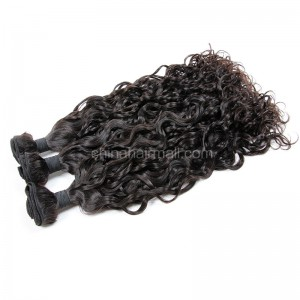 Peruvian virgin unprocessed human hair wefts Natural Color loose curl 3 pieces a lot Hair Bundles 95g/pc [PVLC03]