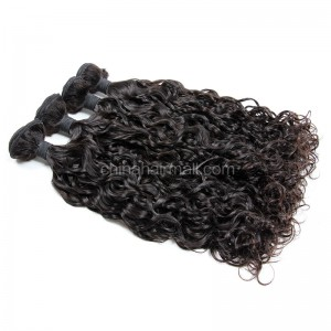 Peruvian virgin unprocessed human hair wefts Natural Color loose curl 4 pieces a lot  95g/pc  [PVLC04]