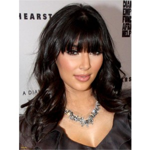 Kim Kardashian Inspired Lace Front Wigs Indian Remy Hair with Bang Natural Big Wave on Sale