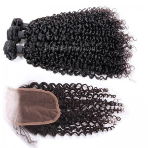 Malaysian virgin unprocessed natural color human hair wefts and 4*4 Lace Closure Brazilian Curly 3+1 pieces a lot Hair Bundles 95g/pc [MVBRC3+1]