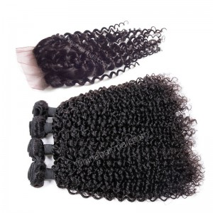 Malaysian virgin unprocessed natural color human hair wefts and 4*4 Lace Closure Brazilian Curly 4+1 pieces a lot Hair Bundles 95g/pc [MVBRC4+1]