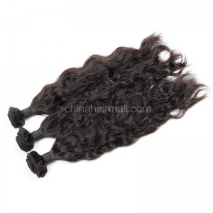 Peruvian virgin unprocessed human hair wefts Natural Color Natural Wave 3 pieces a lot Hair Bundles 95g/pc [PVNW03]