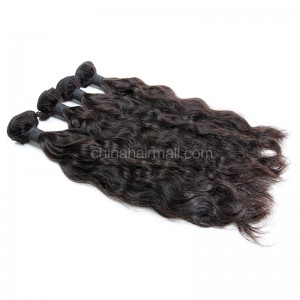 Peruvian virgin unprocessed human hair wefts Natural Color Natural Wave 4 pieces a lot  95g/pc  [PVNW04]