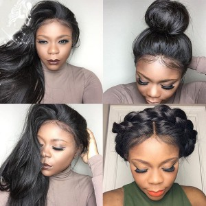 6 Inches Deep Part Pre-Plucked Silk Straight 360 Lace Wigs 150% density Indian Remy Hair 360 Wig