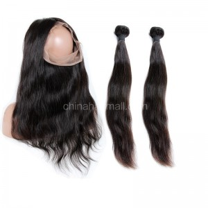 Peruvian Virgin Human Hair 360 Lace Frontal 22.5*4*2 Inch + 2 Bundles Natural Straight
