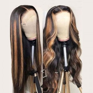 WoWEbony Indian Remy Piano Highlight Color Straight Lace Front Wigs [Piano]