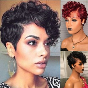 Fast Shipping WowEbony Human Hair Pixie Cut Short Hair Curve T Part Glueless Lace Wigs [Curve15]