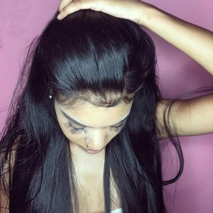 """6"""" Pre-Plucked Indian Remy Hair 360 Lace Wigs 150% density Natural Straight 360 Wig [N360NS01]"""