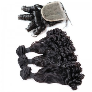 Peruvian virgin unprocessed human hair wefts and 4*4 Lace Closure Eurasian Curly 3 +1 pieces a lot Natural Color Hair Bundles 95g/pc [PVEC3+1]