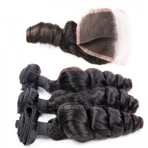 Peruvian virgin unprocessed human hair wefts and 4*4 Lace Closure Peruvian Curly 3 +1 pieces a lot Natural Color Hair Bundles 95g/pc [PVPC3+1]
