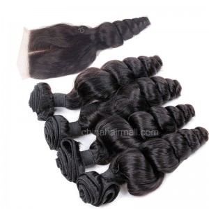 Peruvian virgin unprocessed human hair wefts and 4*4 Lace Closure Peruvian Curly  4 +1 pieces a lot Natural Color Hair Bundles 95g/pc [PVPC4+1]