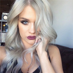 Glueless Lace Front Wigs Peruvian Virgin Hair Middle Part Sexy Wave Wigs Gray Withe [BLLFLW09]